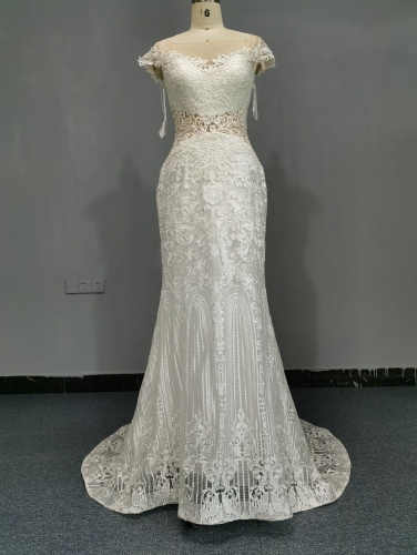 9063 - FREE SHIPPING WEDDING DRESS HEAVRY LACE