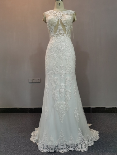 9071 - FREE SHIPPING WEDDING DRESS HEAVRY BEADING