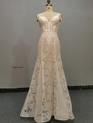 9062 - WEDDING DRESS HEAVRY BEADING BEADING LACE