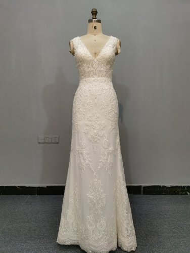 9061 - Free shipping Wedding Dress Evening Dress Heavy Beading Lace